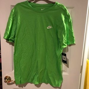 Nike Swoosh Embroidered Logo Neon Lime Green Shirt
